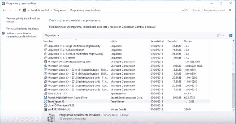 Desinstalar TeamViewer en Windows 10, Windows 8, Windows 7 o Vista