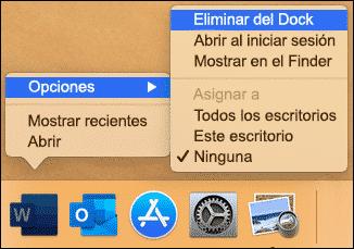 Desinstalar Word Mac dock